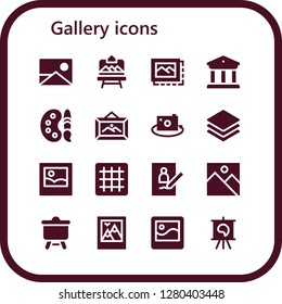 gallery icon set. 16 filled gallery icons. Simple modern icons about  - Picture, Artboard, Image, Museum, Paint palette, Frame, Albums, Grid, Canvas