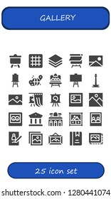 gallery icon set. 25 filled gallery icons. Simple modern icons about  - Canvas, Grid, Albums, Picture, Artboard, Monas, Gallery, Image, Museum, Image gallery, Frame, Album