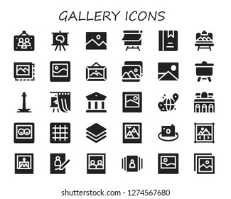 gallery icon set. 30 filled gallery icons. Simple modern icons about  - Picture frames, Canvas, Picture, Album, Artboard, Image, Frame, Monas, Gallery, Museum, Grid, Albums, Image gallery