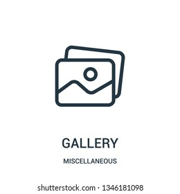 gallery icon vector from miscellaneous collection. Thin line gallery outline icon vector illustration. Linear symbol for use on web and mobile apps, logo, print media.