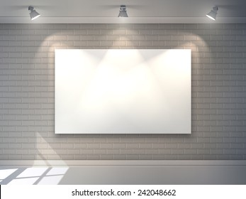 Gallery interior with blank billboard and spotlight poster vector illustration