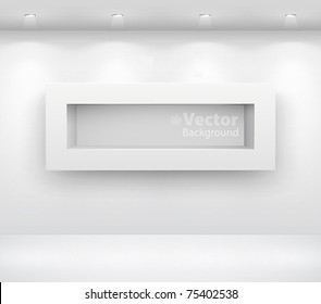 Gallery Interior with empty shelf on wall