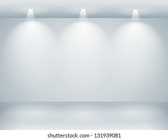 Gallery interior with empty wall and lights