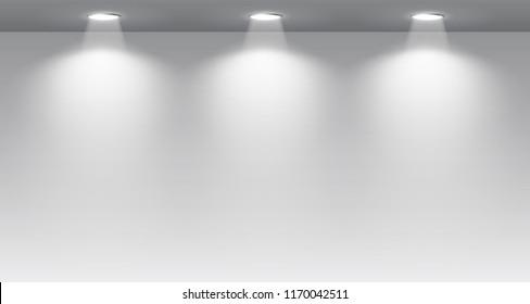 Gallery Interior with illuminated spotlight – stock vector