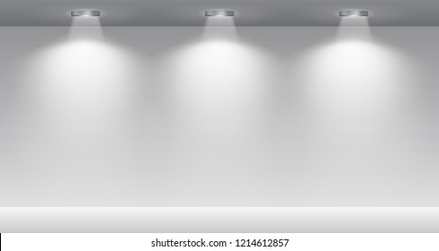 Gallery Interior with illuminated spotlight – for stock