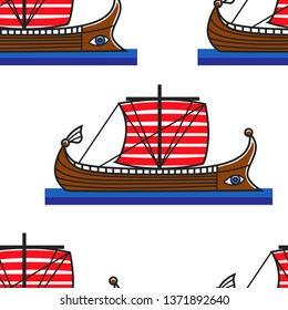 Galley or ancient Greek ship seamless pattern water transport travel to Greece wooden boat with sails endless texture transportation traveling journey or voyage and trip wallpaper print history