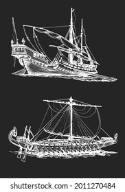 Galley of the ancient Greeks. Wooden sailboat with oars. Graphic hand drawing, inversion. Vector