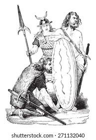 Gallic soldiers, vintage engraved illustration. Industrial encyclopedia E.-O. Lami - 1875.