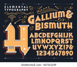 Gallium & Bismuth is an original type design and 3d treatment. This file includes all capitals, numerals, some punctuation, and several beautiful design elements.