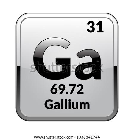 Gallium Symbol Chemical Element Periodic Table On Stock Vector