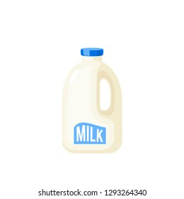 Gallon of milk, plastic package. Vector cartoon illustration flat icon isolated on white.