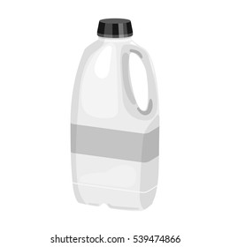 Gallon plastic milk bottle icon in monochrome style isolated on white background. Milk product and sweet symbol stock vector illustration.