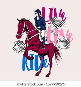 The Galloping beautiful horse, rider and checkered  flowers. Life, Love, Ride - lettering quote. Romantic card, t-shirt composition, hand drawn style print. Vector illustration.
