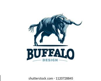 A galloping bull. Vector illustration. Vector logo.