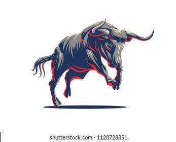 A galloping bull. Vector illustration. Vector logo.
