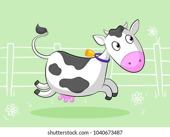 Galloping cartoon cow with a bell