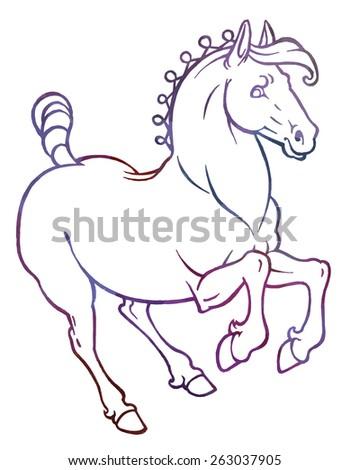 Galloping Horse Vector Hand Drawing Illustration Stock Vector
