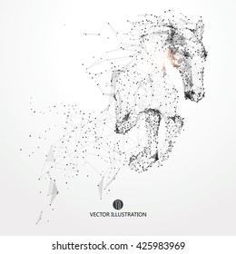 Galloping horse,lines and connected to form,vector illustration,The moral development and progress.