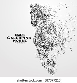 Galloping horse,particles,vector illustration.