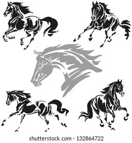 Galloping horses Images based on brush-drawn studies of galloping horses.