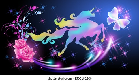 Galloping iridescent unicorn with luxurious winding mane and flying butterfly against the background of the fantasy universe with sparkling stars and pink roses