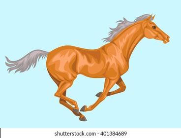 galloping palomino horse