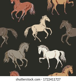 Galloping, trotting and walking horses of different colors on a black background. Seamless vector patten with running animals. Square repeating template for fabric and wallpaper.