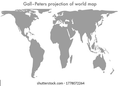 Gall-Peters projection of world map vector line illustration (correct size). Resizable