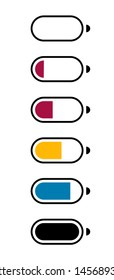 Galvanic battery charge level. Flat icons of the number of charging electronic batteries, mobile devices for applications and web sites. Vector illustration