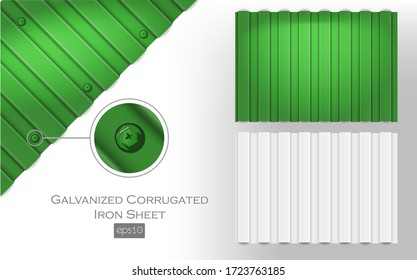 galvanized corrugated iron sheet eps 10 green and white color. Roof metal tiles slab for covering or fencing material