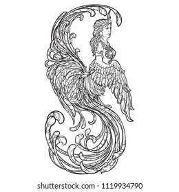 Gamayun - half-woman half-bird prophetic creature in Russian myths and fairy tales. Intricate linear drawing isolated on white background. Tattoo design. EPS10 vector drawing.