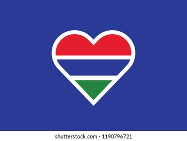 Gambia heart shape love symbol national flag country emblem