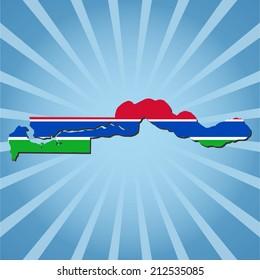 The Gambia map flag on blue sunburst illustration