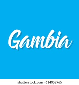 gambia, text design. Vector calligraphy. Typography poster. Usable as background.