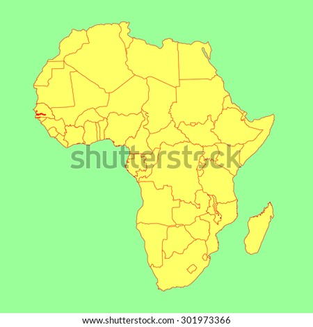 Gambia On Africa Map.Gambia Vector Map Isolated On Africa Stock Vector Royalty Free