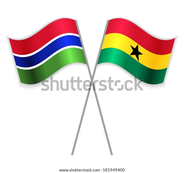 Gambian and Ghanaian crossed flags. Gambia combined with Ghana isolated on white. Language learning, international business or travel concept.