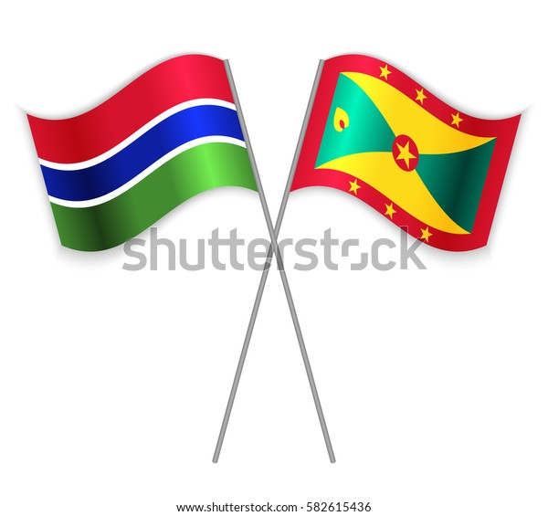 Gambian and Grenadian crossed flags. Gambia combined with Grenada isolated on white. Language learning, international business or travel concept.
