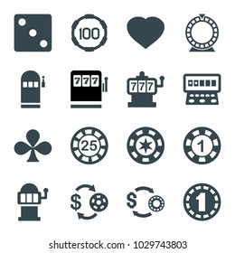 Gamble icons. set of 16 editable filled gamble icons such as slot machine, casino chip and money, 1 casino chip, dice, clubs, hearts, roulette