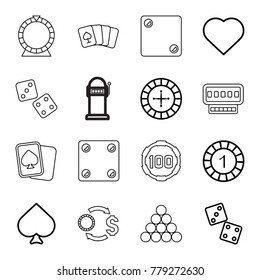 Gamble icons. set of 16 editable outline gamble icons such as spades, hearts, roulette, 1 casino chip, dice, pllaying card, casino chip and money, 100 casino chip, dice