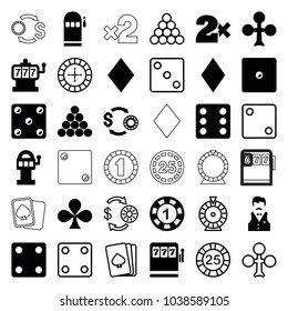 Gamble icons. set of 36 editable filled and outline gamble icons such as clubs, diamonds, slot machine, 1 casino chip, dice, casino bet, slot machine, pllaying card, roulette