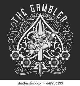 1b351ce15 vintage playing cards design. Gambler poker skull typography, tee shirt  graphics, vectors. Queen playing card tattoo ...