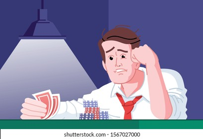 Gambling addiction flat vector illustration. Casino entertainment dependence. Gamblers failure, bad luck day. Obsessed poker player frustrated about losing card game cartoon character