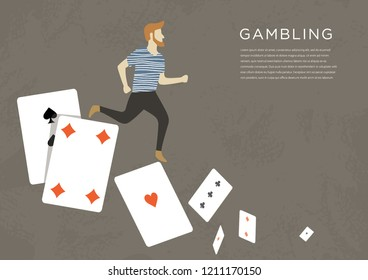 Gambling addiction problem. A man running on the playing cards. Road to nowhere. Vector flat illustration with text.