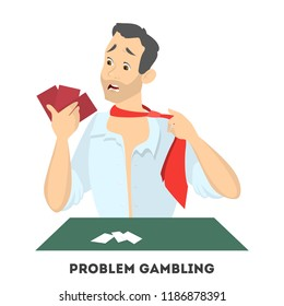 Gambling addiction. Upset man playing in casino poker and looking at his cards . Isolated vector illustration in cartoon style