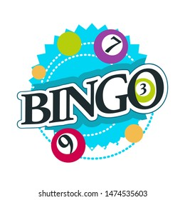 Gambling casino club isolated icon with lettering bingo game balls with numbers vector lottery and easy earning money stakes, and guessing combination luck and fortune gamblers club emblem or logo