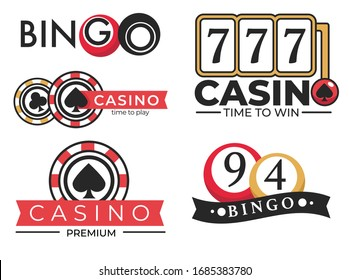 Gambling casino club, poker and bingo lottery, isolated vector icons. Slot machine and roulette wheel, play cards and balls with numbers, game chips and crown. Money stakes or betting, emblems or logo