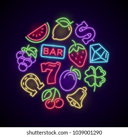 Gambling casino games neon logo with slot machine bright icons. Illustration of casino and poker, luck game gambling vector
