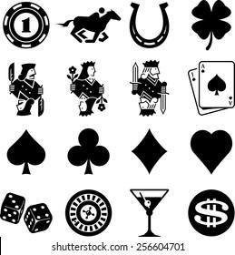 Gambling and casino icon set