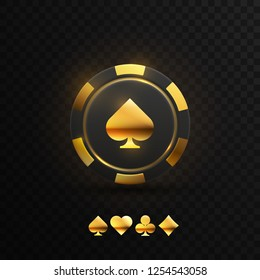 Gambling chip with golden spade sign. Vector illustration. Black and golden casino chip with playing card suit signs isolated on black background. Game concept