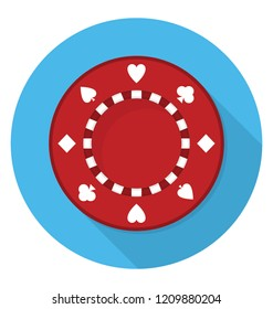 A gambling chip to play in casino